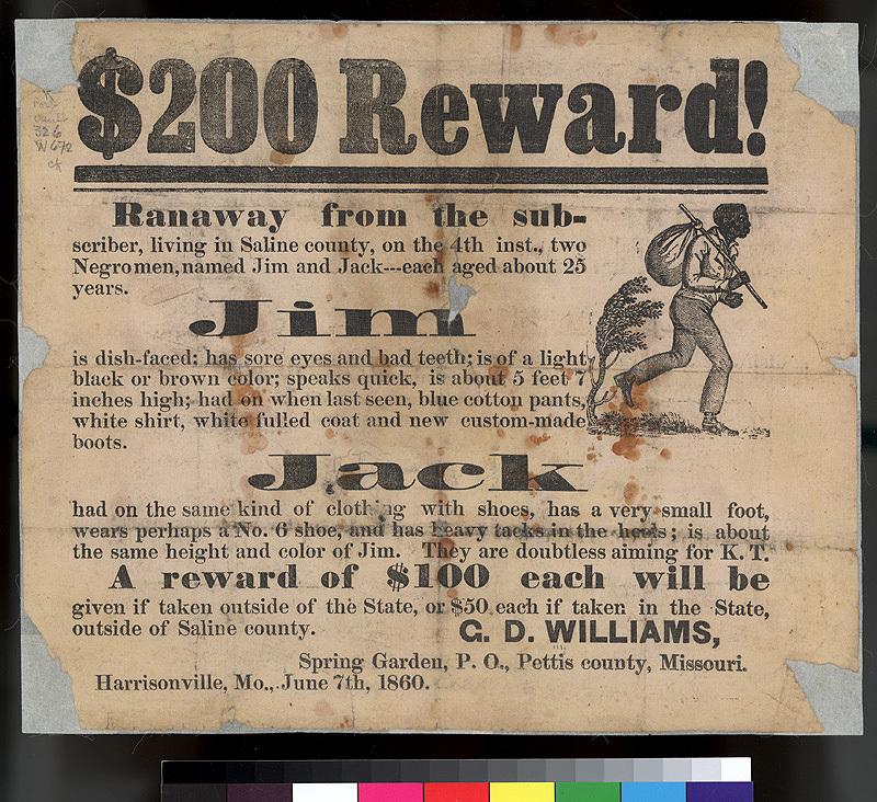 $200 Reward! for runaway slaves