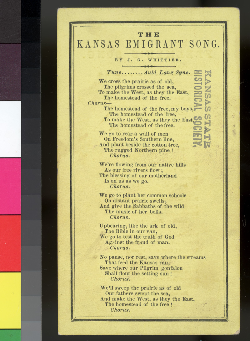 """The Freeman's Song"" and ""The Kansas Emigrant Song"" lyrics - p. 2"
