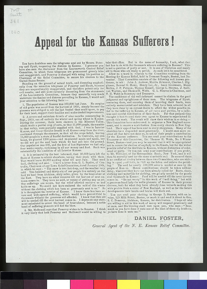 Appeal for the Kansas sufferers!