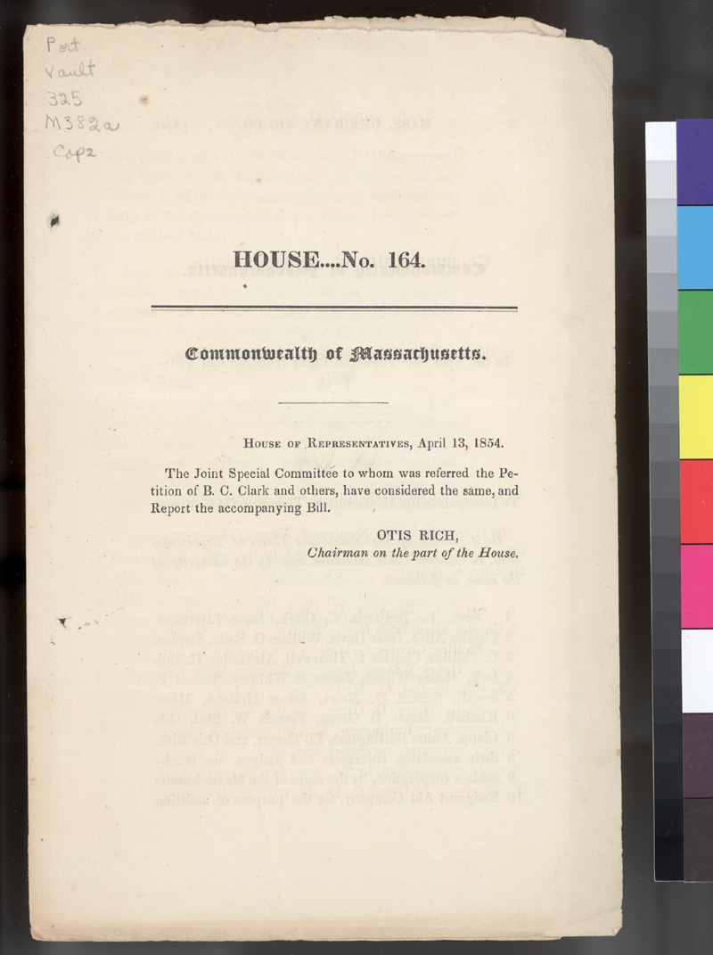An act to incorporate the Massachusetts Emigrant Aid Company - p. 1