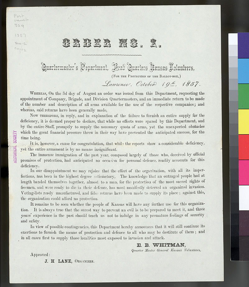 Order No. 2, Quartermaster's Department, Headquarters Kansas Volunteers, Lawrence, For the Protection of the Ballot Box