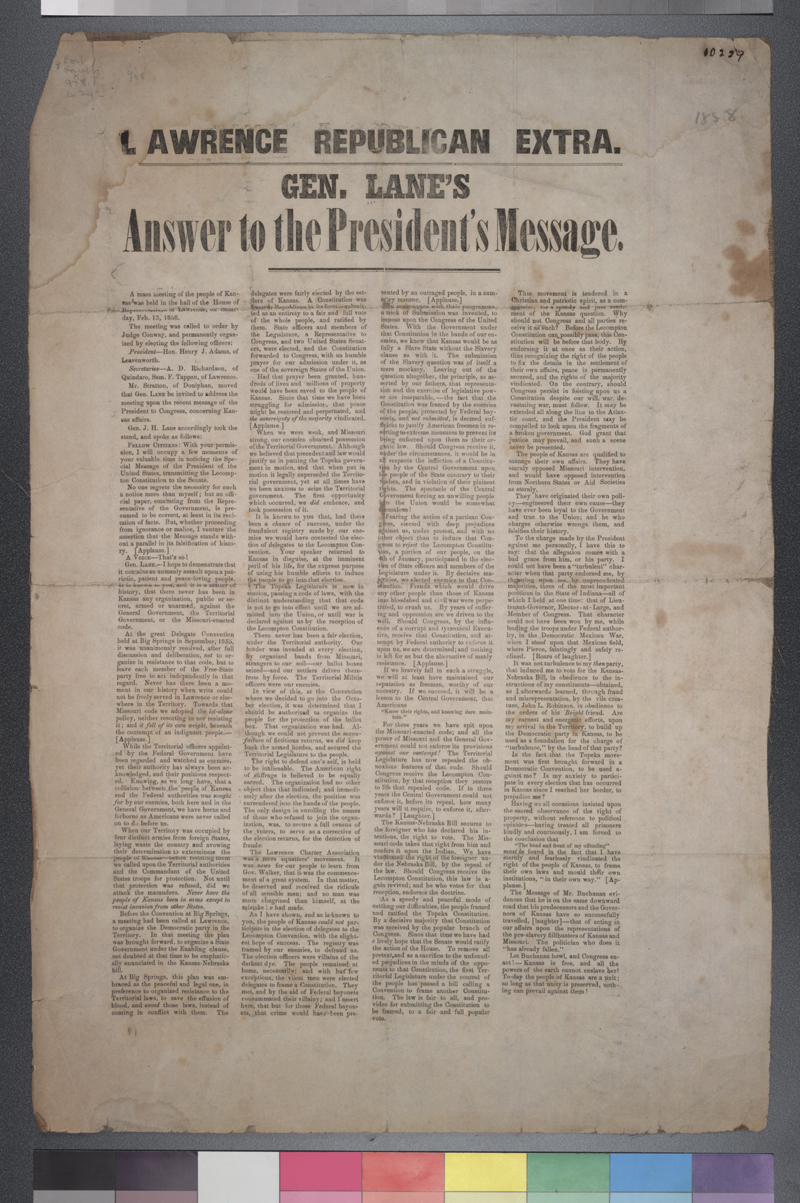 Gen. Lane's Answer to the President's Message, Lawrence Republican Extra