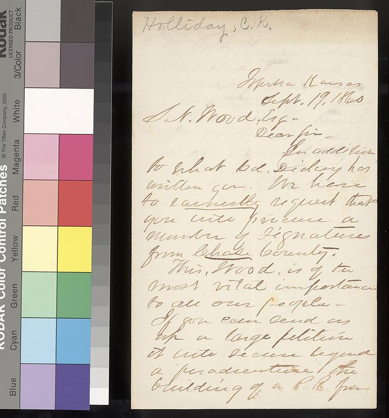 Cyrus K. Holliday to Samuel N. Wood - p. 1