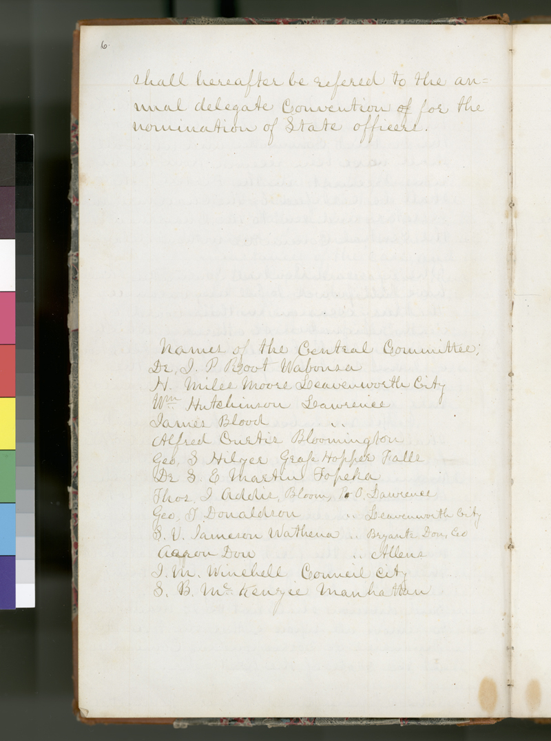 Kansas State Central Committee record book - p. 6