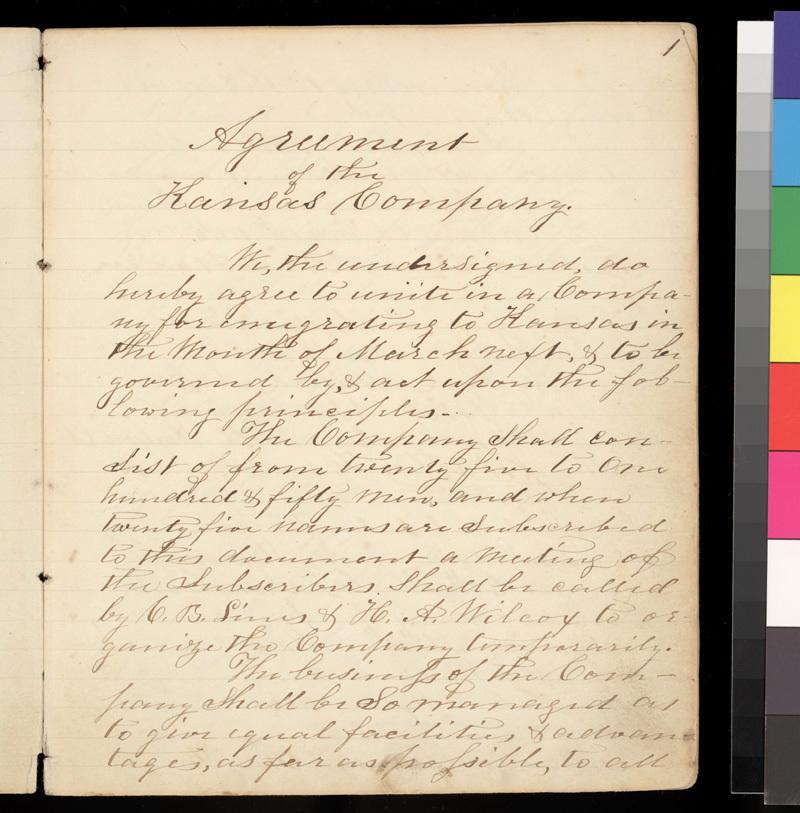 Connecticut Kansas Colony record book, 1856-1857 - p. 1