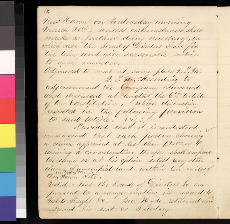 Connecticut Kansas Colony record book, 1856-1857 - p. 12