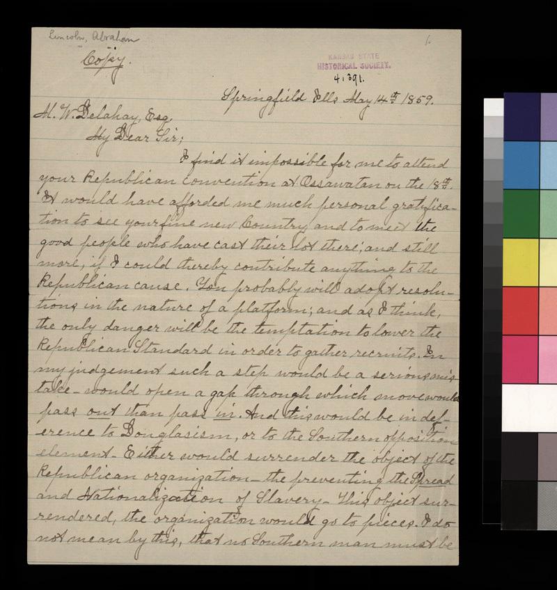 Abraham Lincoln to Mark W. Delahay - p. 1