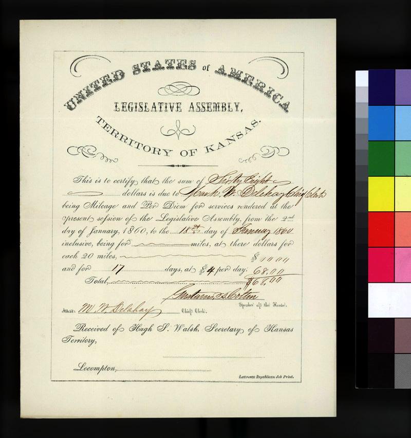 Certificate. Legislative Assembly, Territory Of Kansas