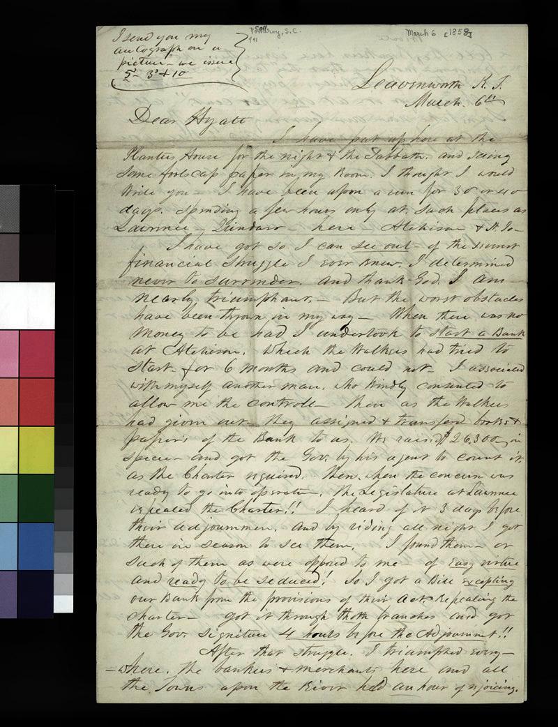 Samuel C. Pomeroy to Thaddeus Hyatt - p. 1