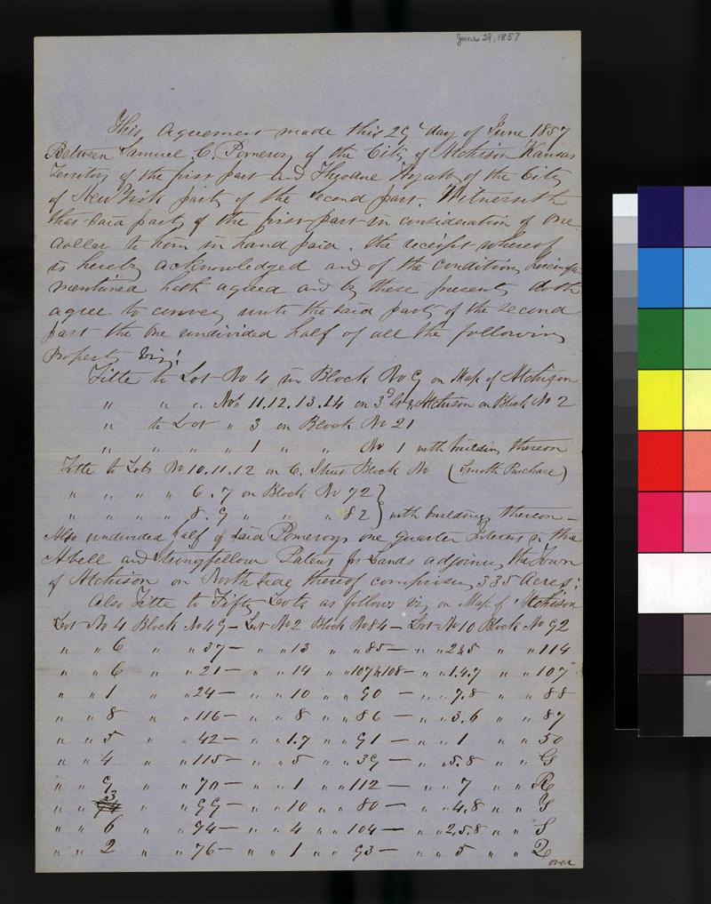 Atchison land sale between Samuel Pomeroy and Theodore Hyatt - p. 1