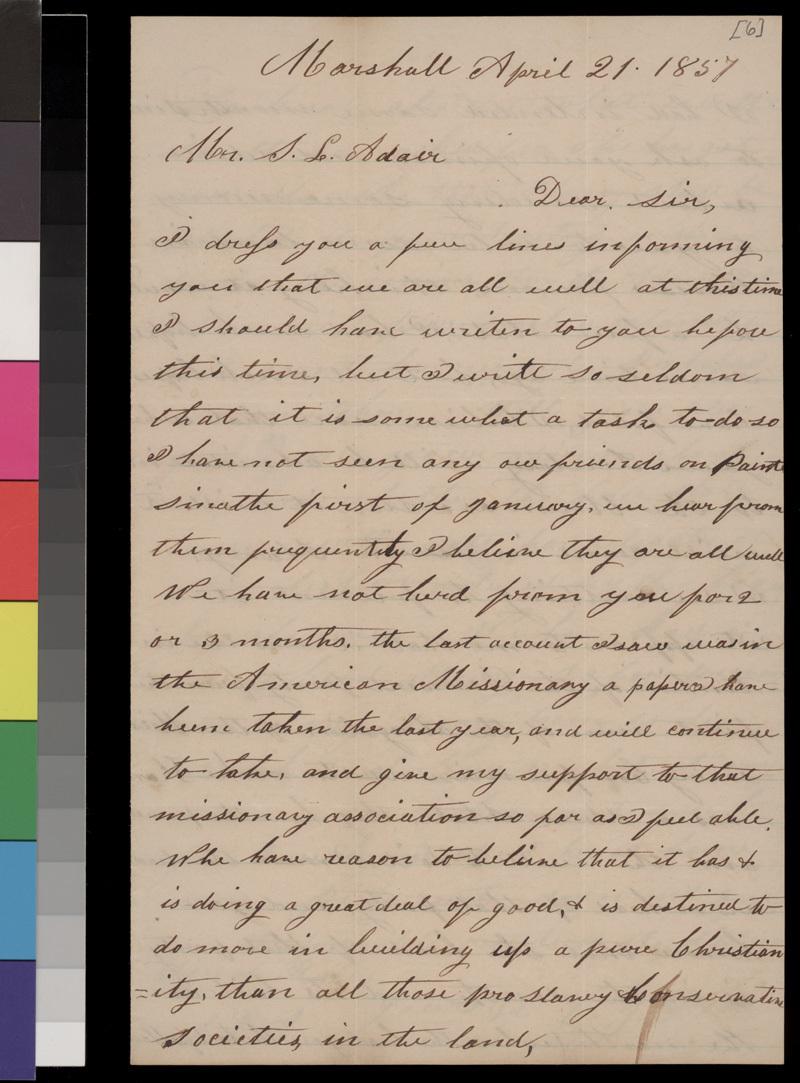 C. G. Dick to Samuel L. Adair - p. 1