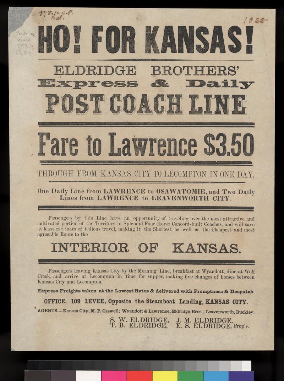 Ho! For Kansas! Eldridge Brothers' Express & Daily Post Coach Line