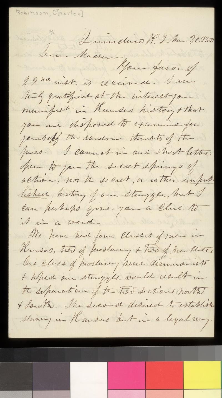 Charles Robinson to Emma Millard - p. 1