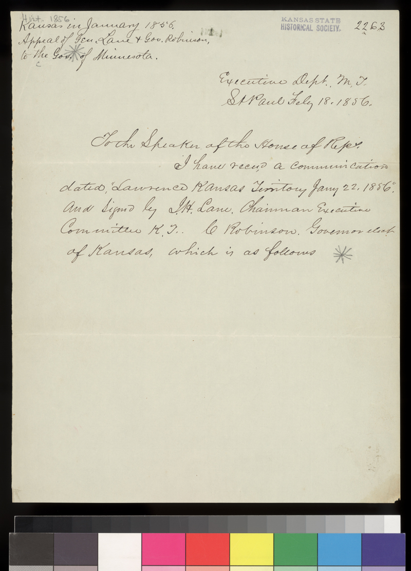 Willis A. Gorman to the Speaker of the House of Representatives, Minnesota - 1