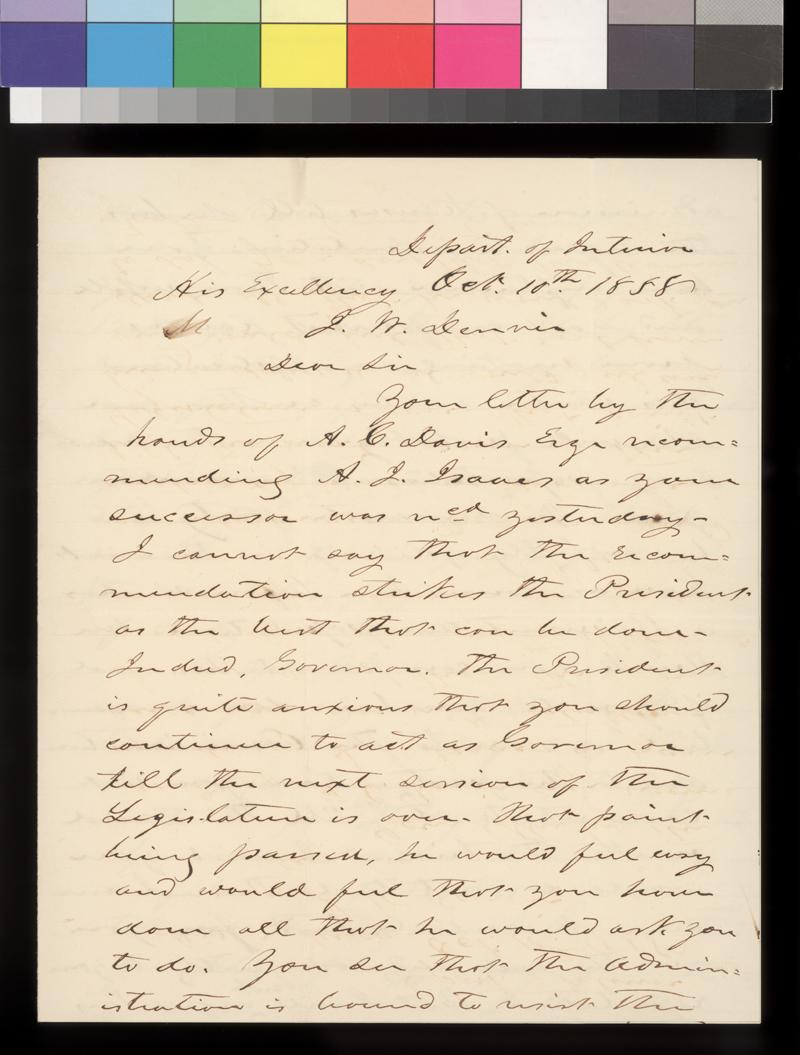 J. Thompson to James W. Denver - p. 1