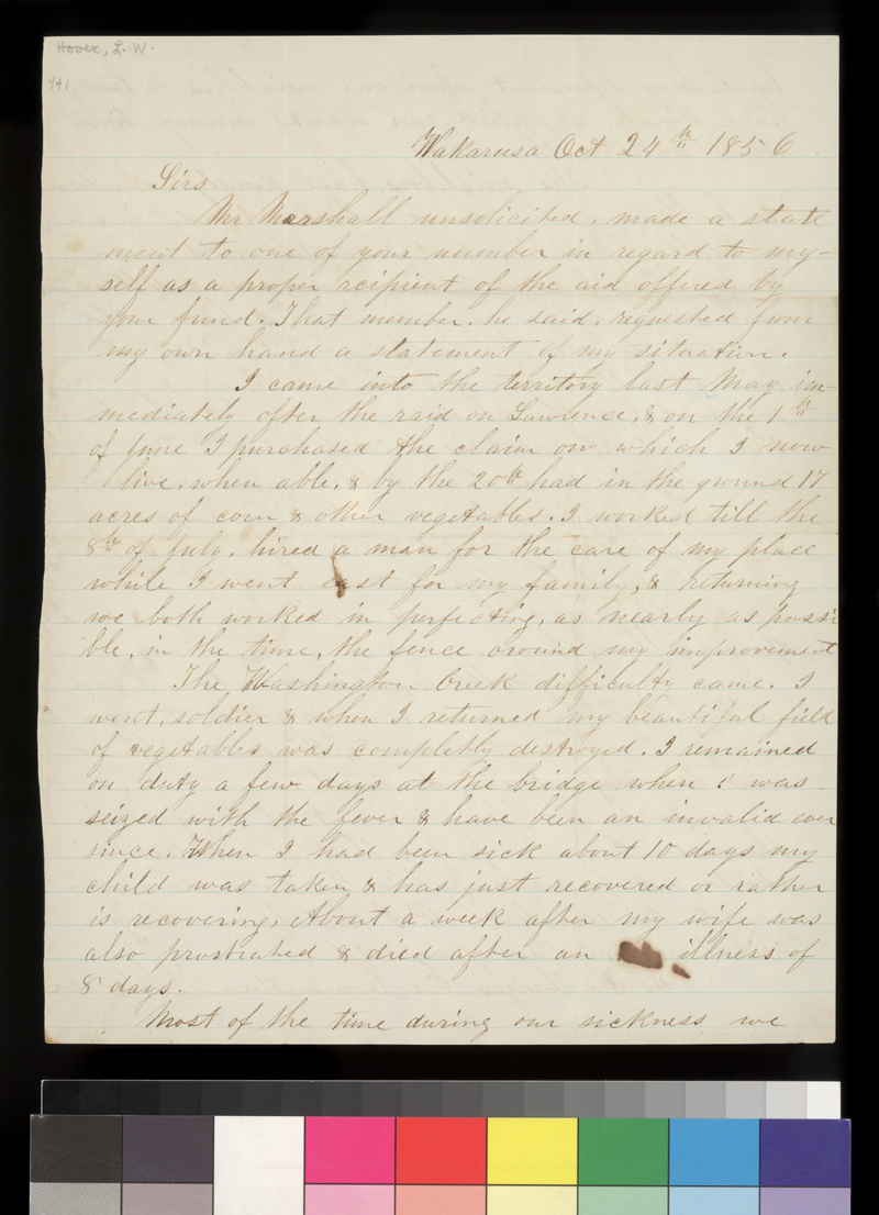 L. W. Hover to State Central Committee - p. 1