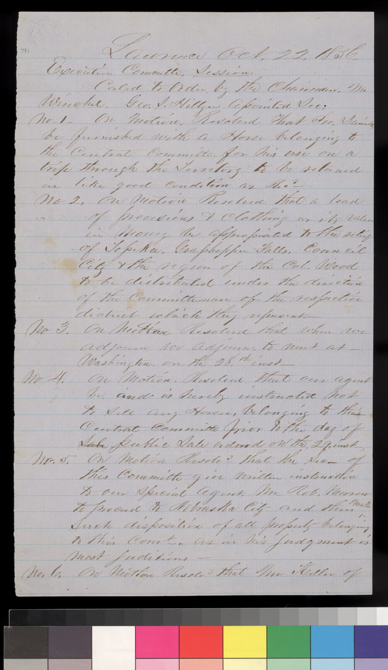 Minutes of Executive Committee, Kansas State Central Committee - p. 1