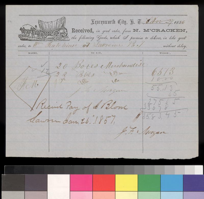 N. M'Cracken to William Hutchinson