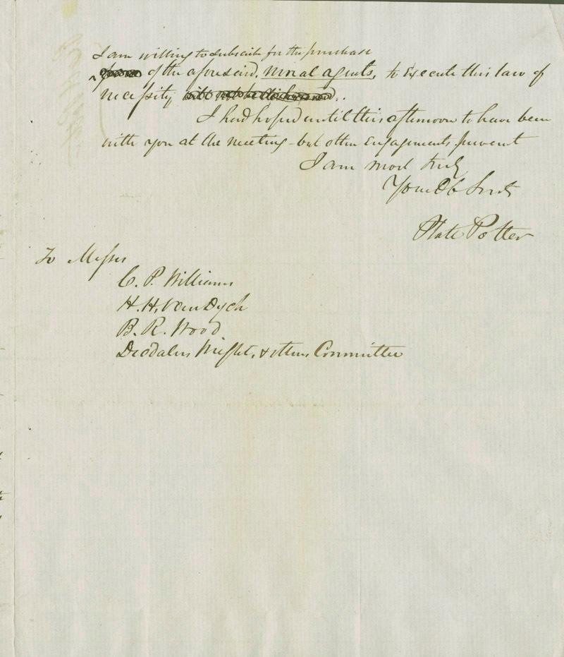 Platt Potter to C. P. Williams, H. H. Van Dyck, B. R. Wood, Deodalus Wright - p. 3