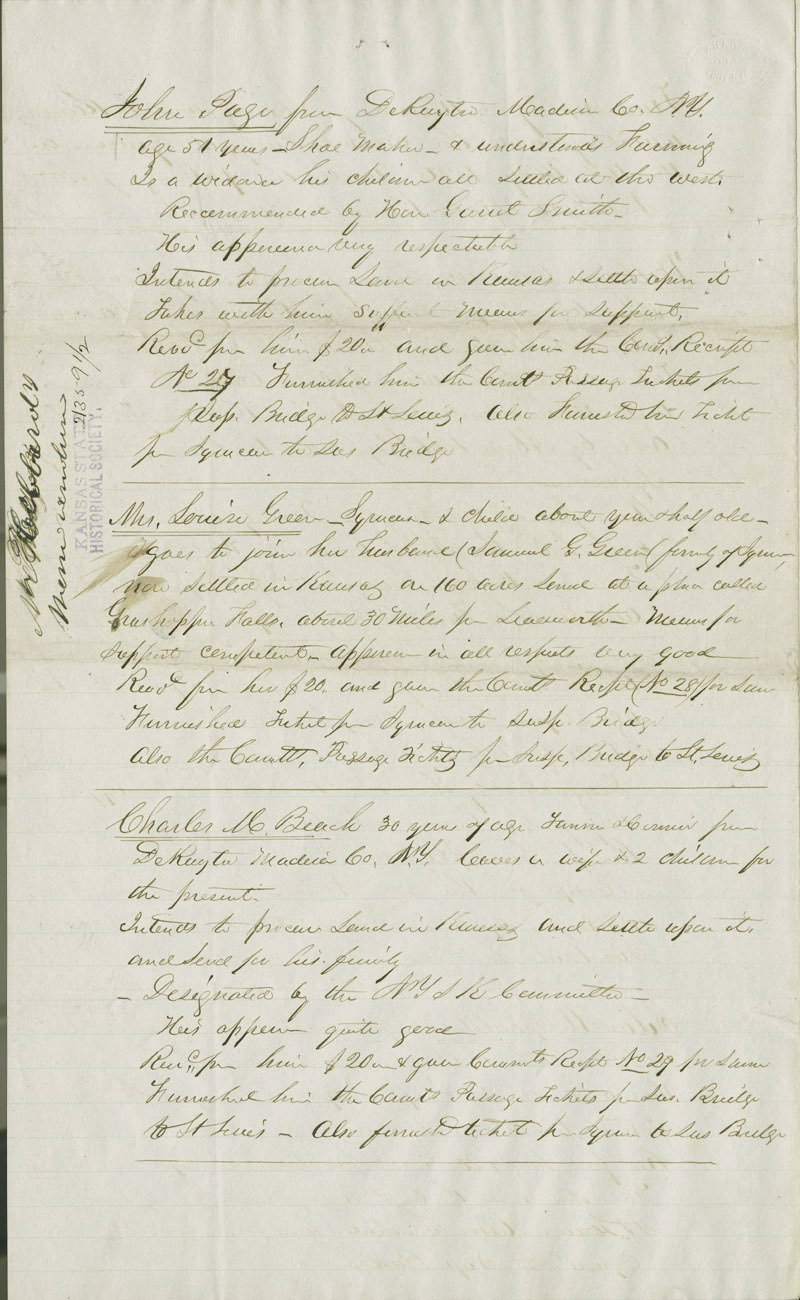 Record of Immigrants for Kansas - p. 2