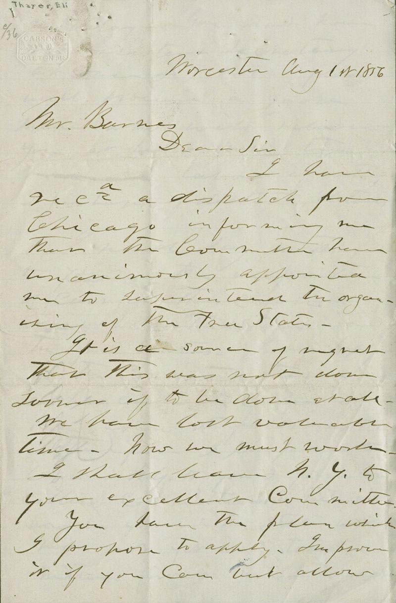 Eli Thayer to Mr. [William] Barnes - p. 1