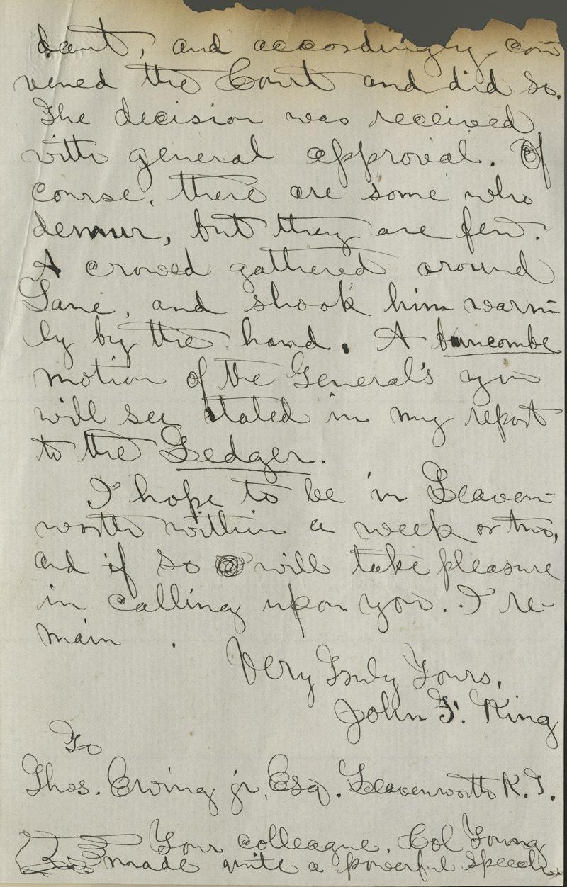 John F. King to Thomas Ewing, Jr. - p. 3