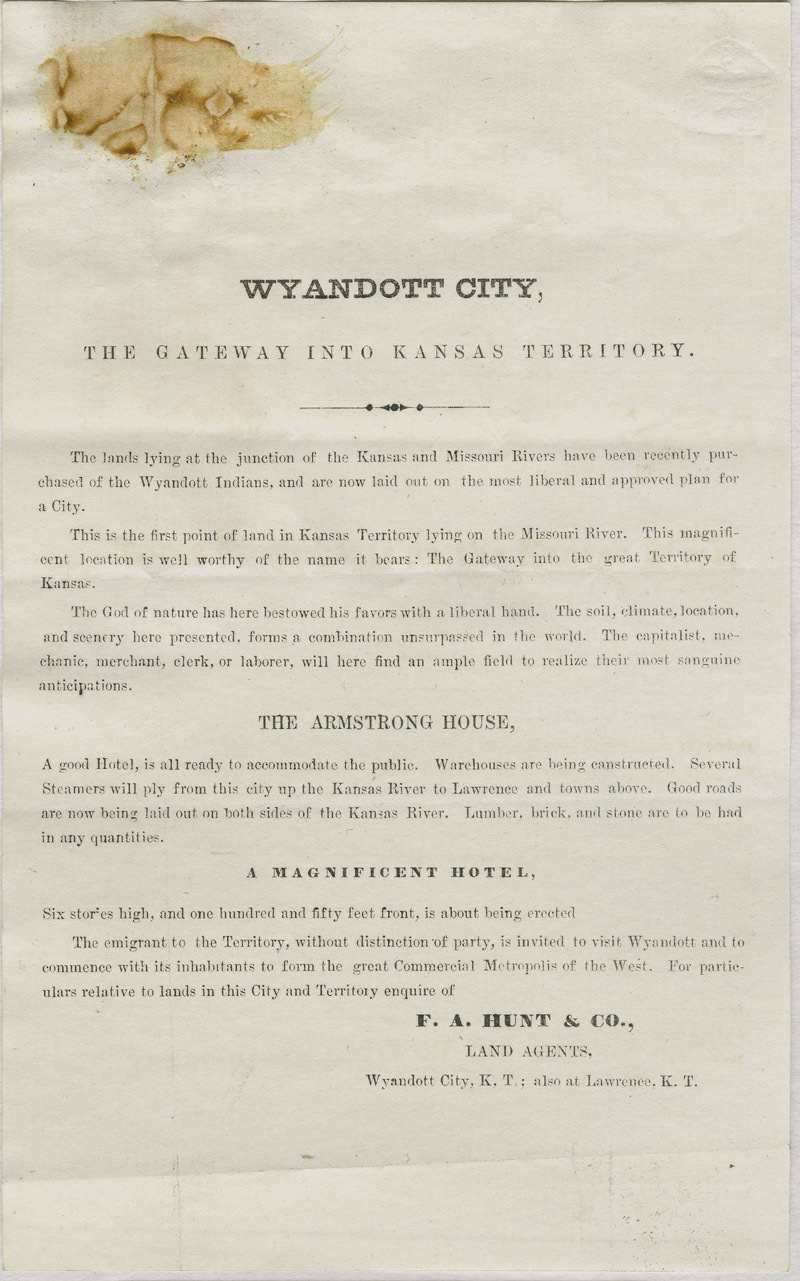 Wyandott City, the gateway into Kansas Territory