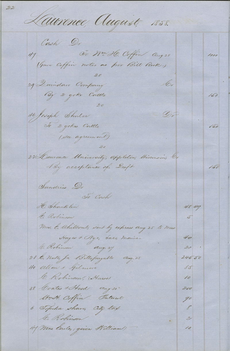 Dr. Charles Robinson account book - p. 6