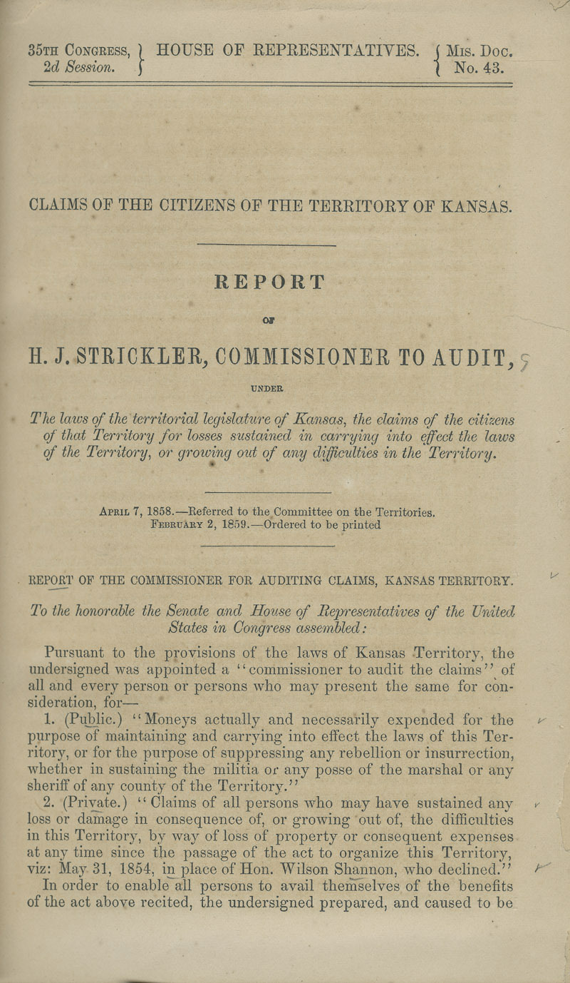 Kansas Territory citizens' claims process - p. 1