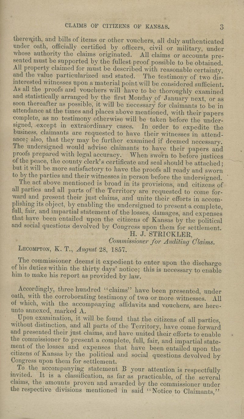 Kansas Territory citizens' claims process - p. 3