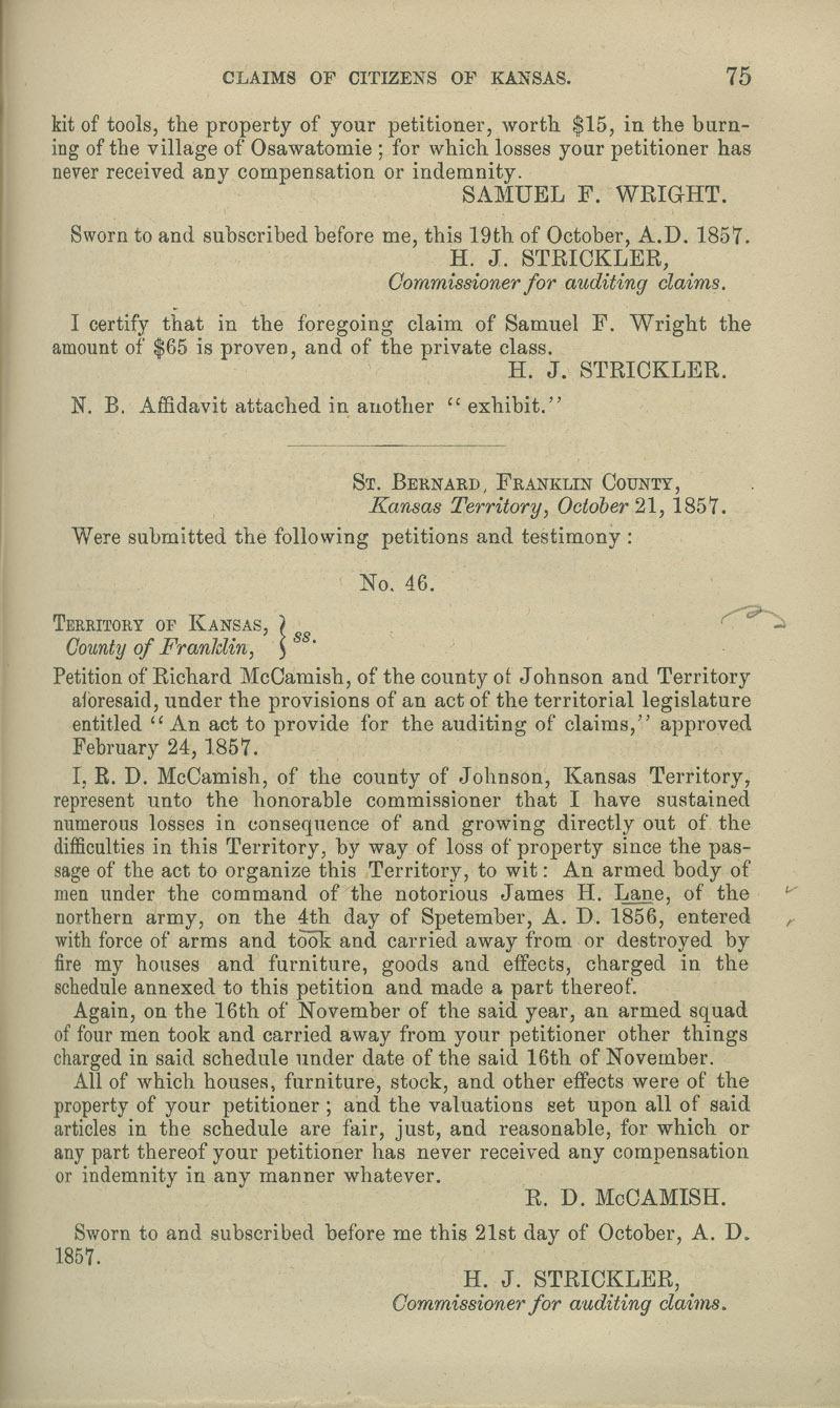 R.D. McCamish territorial loss claim - p. 75