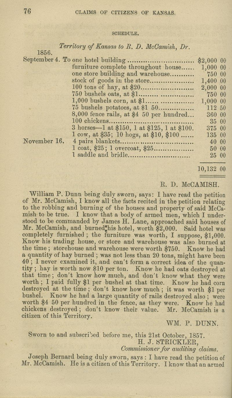 R.D. McCamish territorial loss claim - p. 76