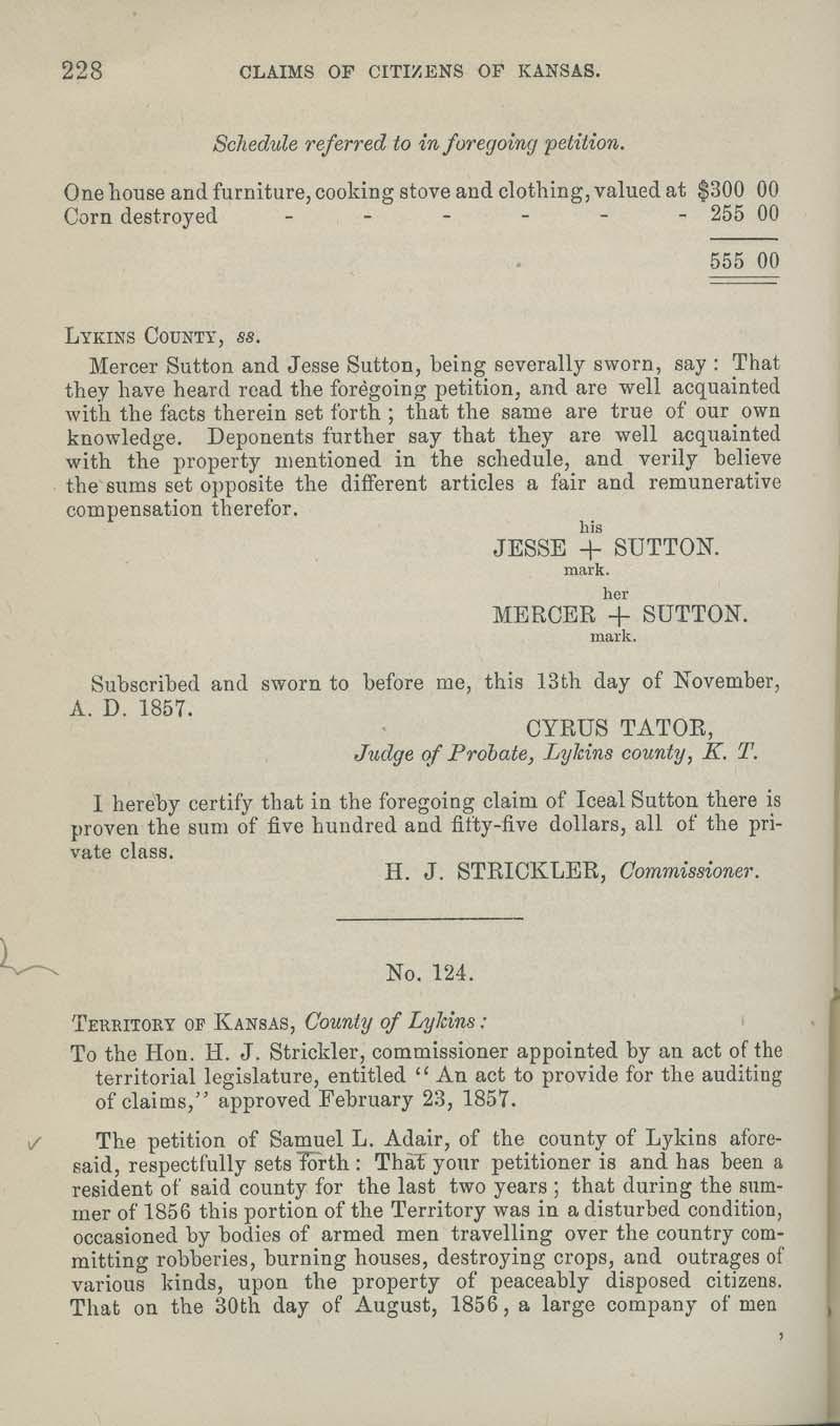 Samuel Adair territorial loss claim - p. 228