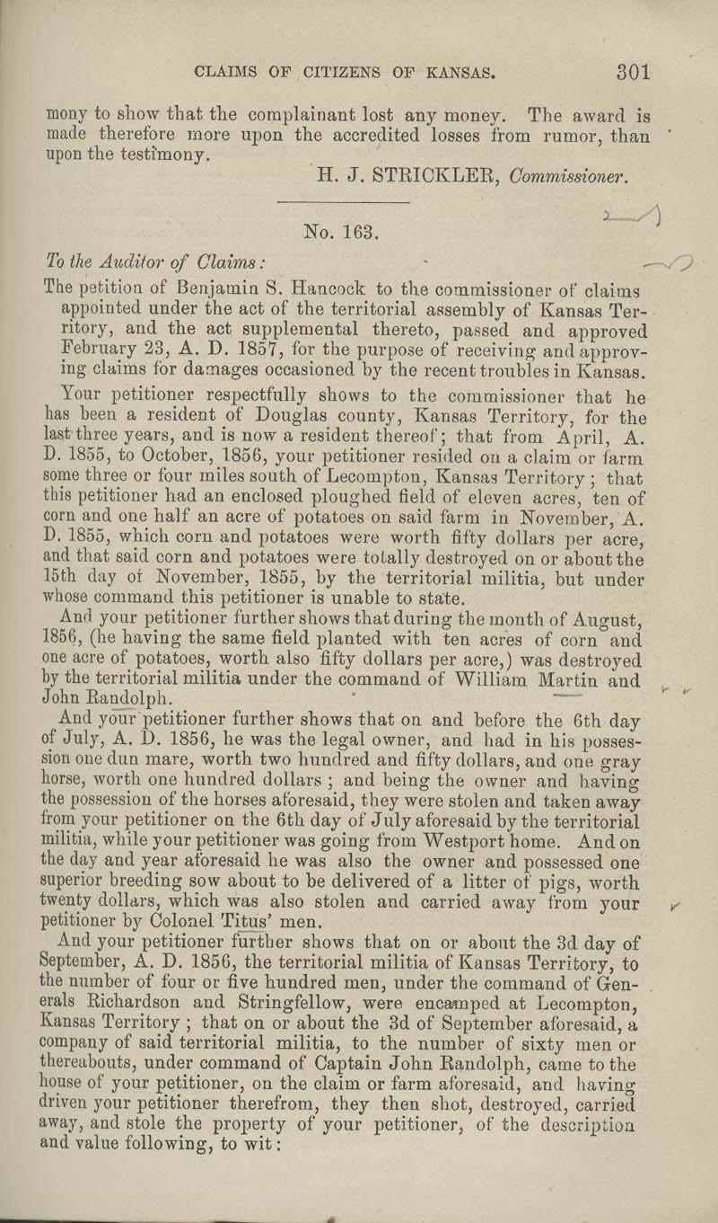Benjamin S. Hancock territorial loss claim - p. 301
