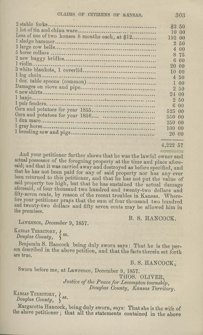 Benjamin S. Hancock territorial loss claim - p. 303