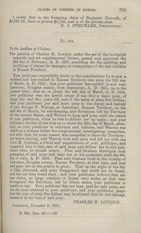 Benjamin S. Hancock territorial loss claim - p. 305