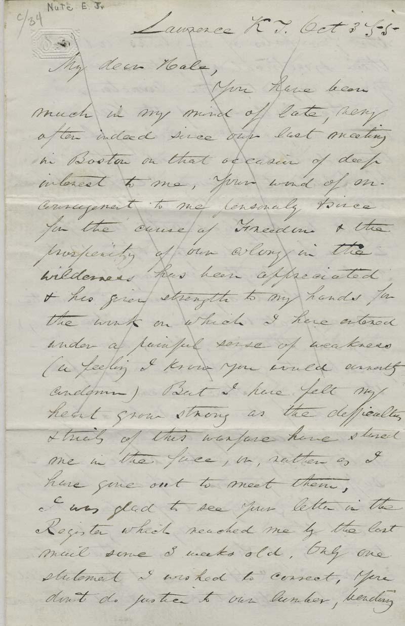 Ephriam Nute, Jr. to Reverend Edward Everett Hale - p. 1