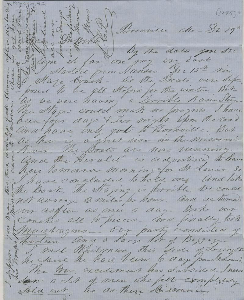 Samuel Clarke Pomeroy  to Doctor Thomas H. Webb - p. 1