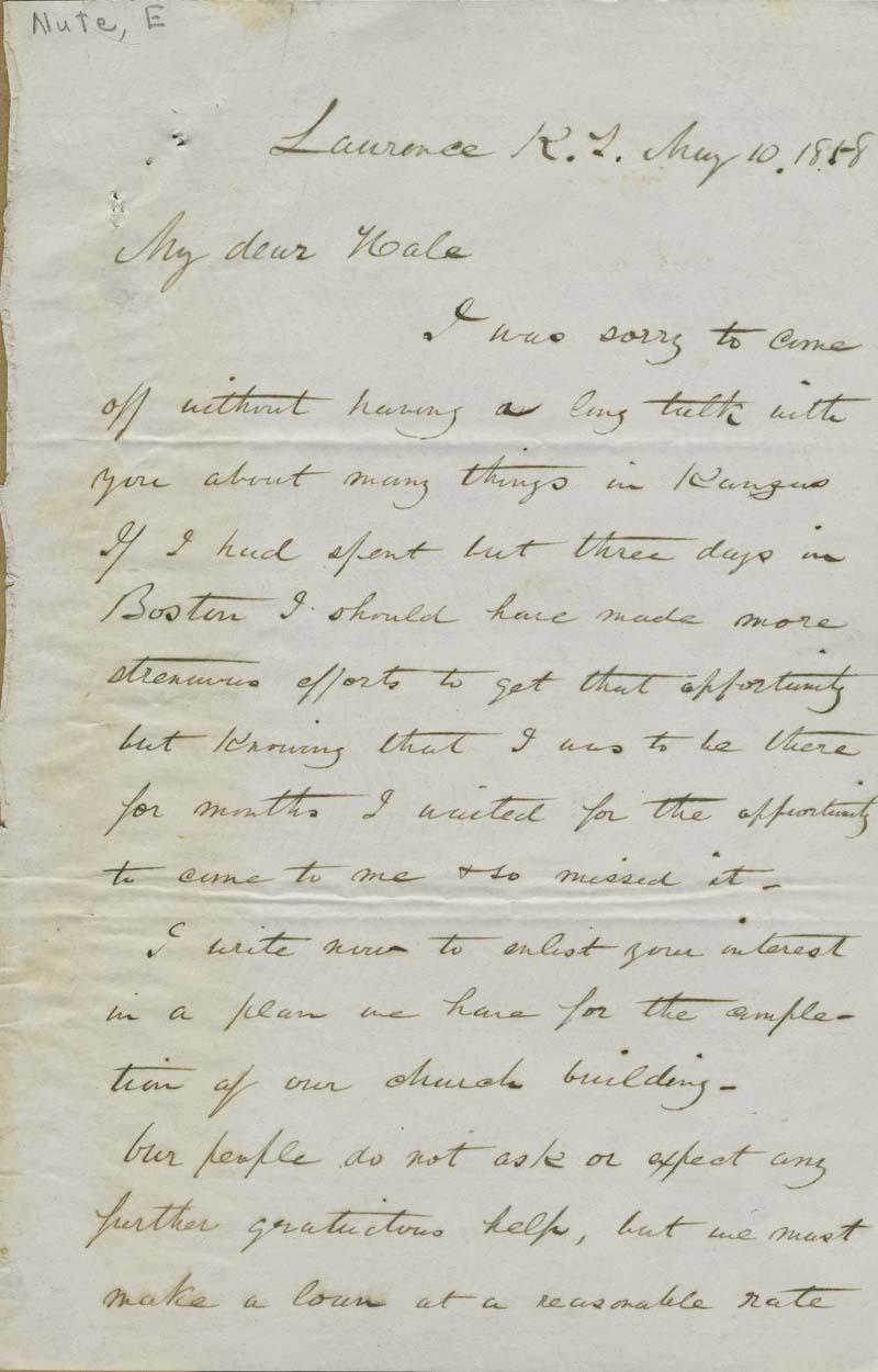 Ephraim Nute to Edward Everett Hale - p. 1