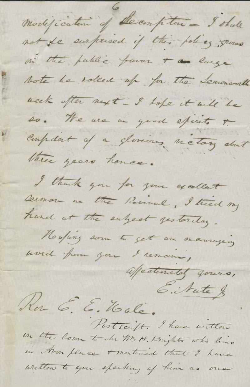 Ephraim Nute to Edward Everett Hale - p. 6
