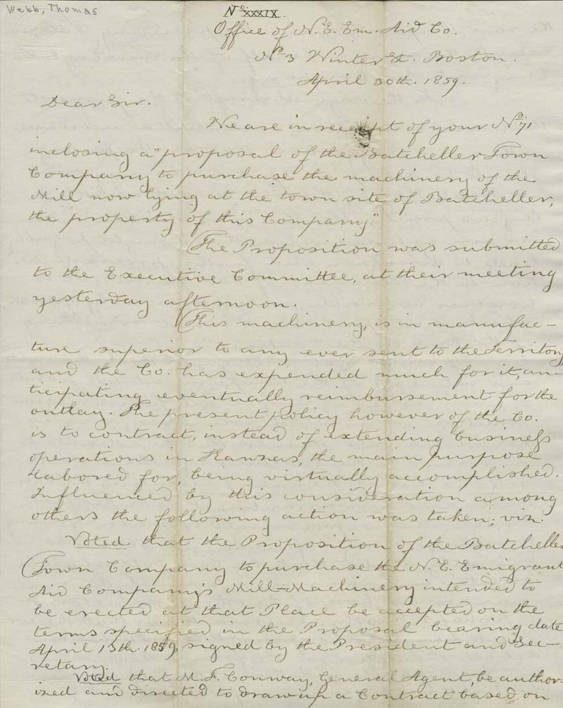 Thomas Hopkins Webb to Martin Franklin Conway - p. 1
