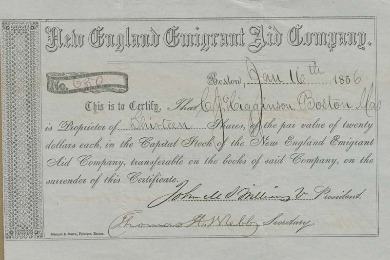 New England Emigrant Aid Company stock certificate
