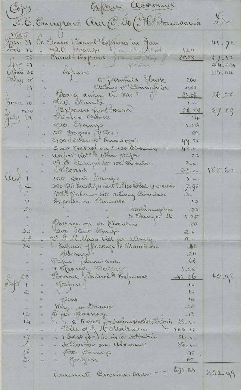 Charles H. Branscomb to New England Emigrant Aid Company, Expense Account. - p. 1