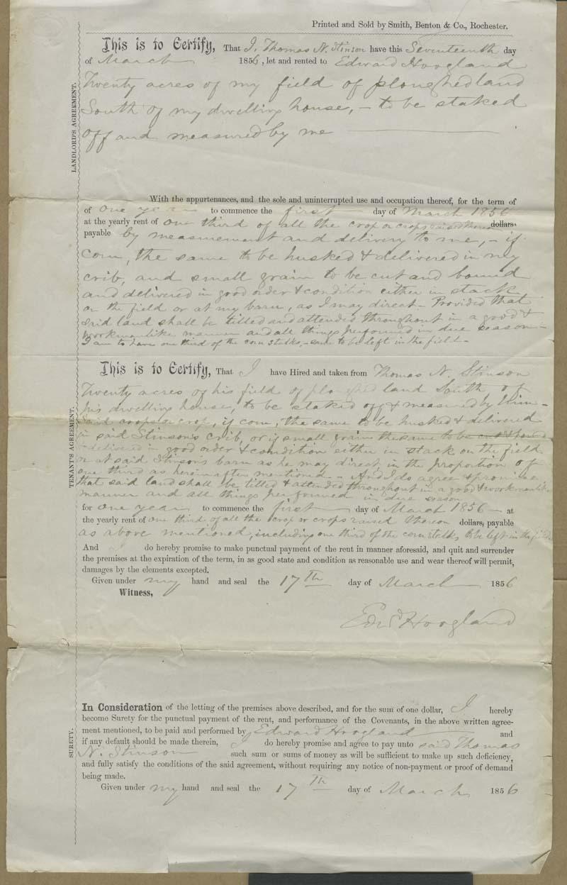 Thomas Nesbit Stinson and Edward Hoogland, tenant agreement
