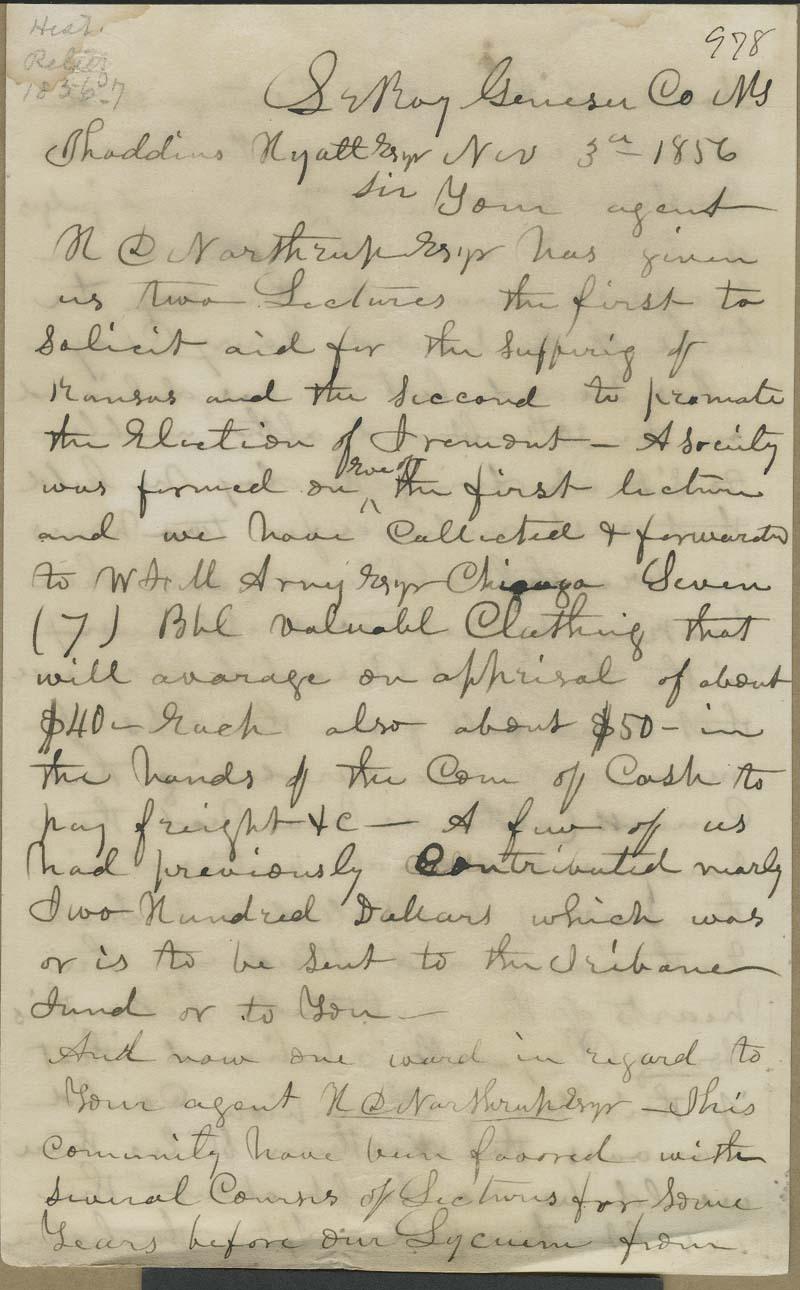 S. Chamberlin to Thaddeus Hyatt - p. 1