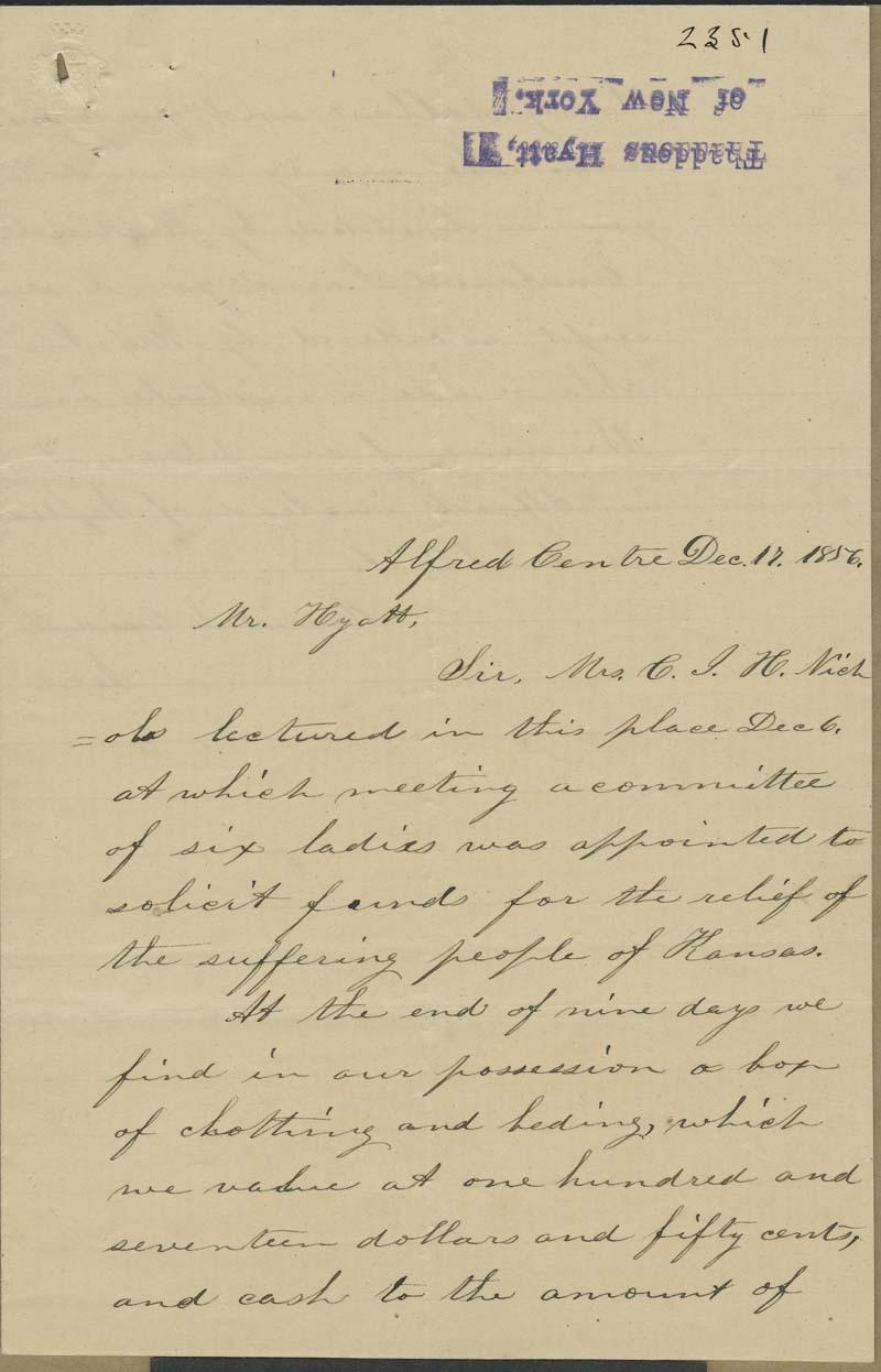 Harriet S. Crandall to Thaddeus Hyatt - p. 1