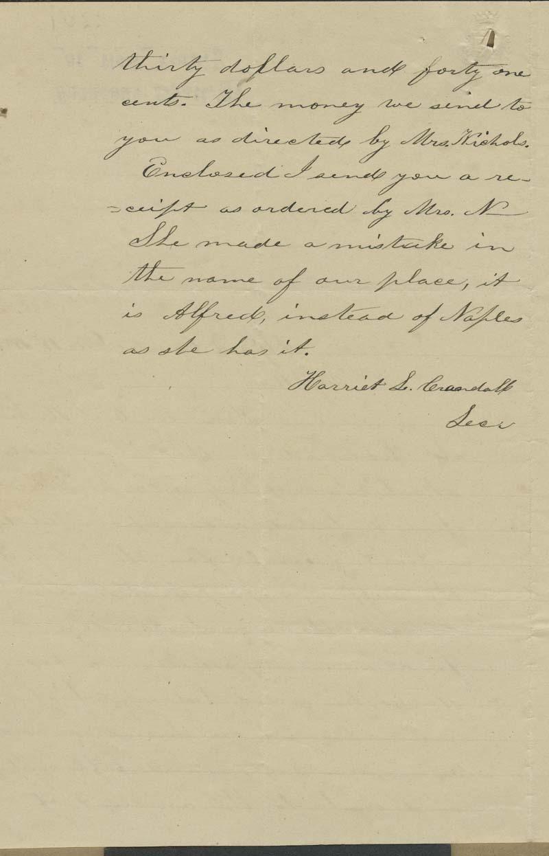 Harriet S. Crandall to Thaddeus Hyatt - p. 2