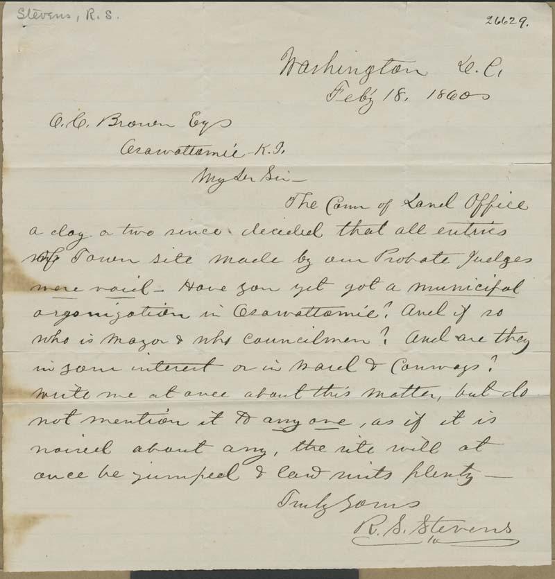 Robert S. Stevens to Orville Chester Brown
