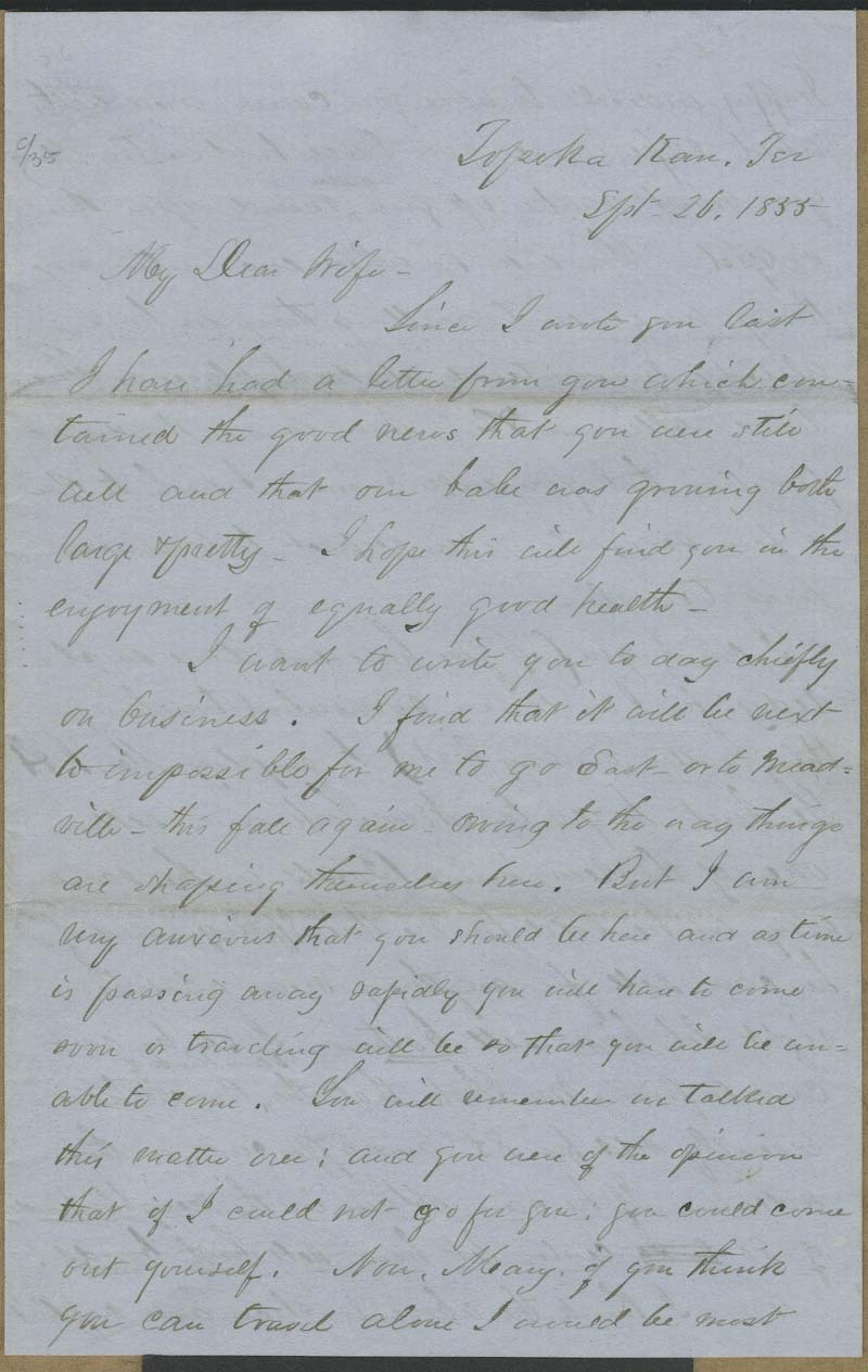 Cyrus Kurtz Holliday to Mary Dillon Holliday - p. 1