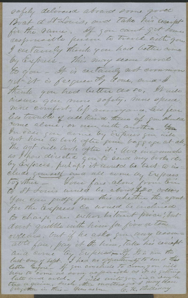 Cyrus Kurtz Holliday to Mary Dillon Holliday - p. 12